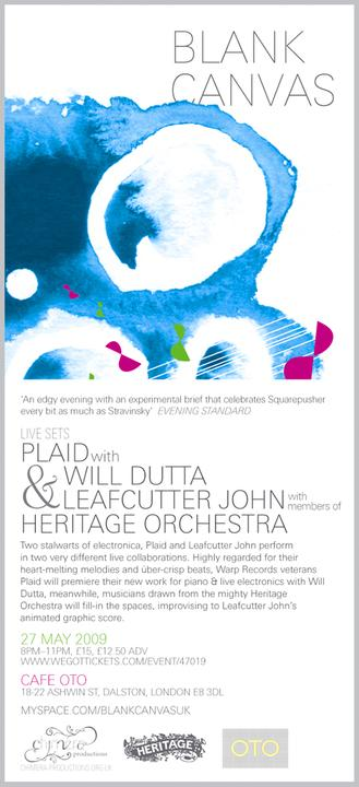 Plaid live with Leafcutter John and Will Dutta - Blank Canvas at Cafe Oto, May 27th