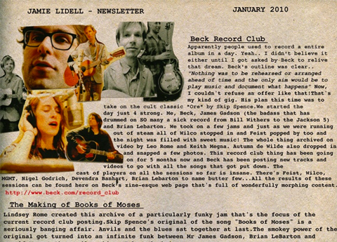 January 2010 Newsletter - Recording Session with Beck plus dates in London, Australia and Turkey
