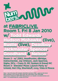 Numbers at Fabric, Fri 8th Jan 2010, with Hudson Mohawke, Rustie and more. Win tickets in our December newsletter