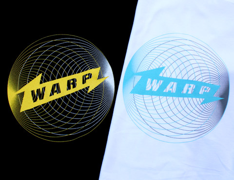 New Warp T-shirts designed by Andy Gilmore (available in Black or White)