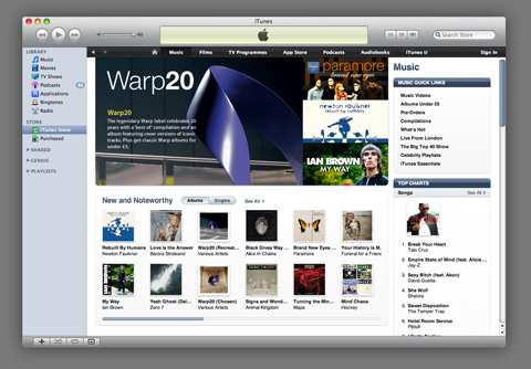 Warp on iTunes - Warp20 Room with over 50 discounted albums