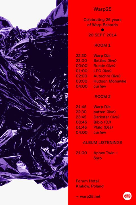 See set times for Warp25, attendees will be able to hear the forthcoming Aphex Twin album in full